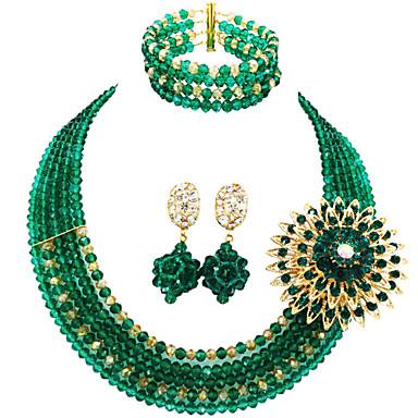 levne Dámské šperky-Dámské Náhrdelník Náušnice Náramek Boncuklar Šťastný Elegantní Afrika Náušnice Šperky Světle žlutá / Zelená / průhledná Pro Svatební Párty Dar Denní Festival 1 sada