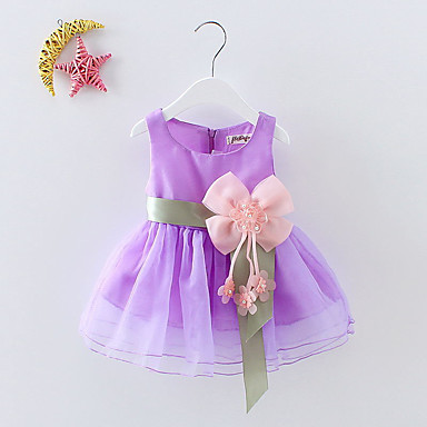 cheap Baby & Toddler Girl-Baby Girls' Sweet Party / Birthday / Festival Solid Colored Bow / Flower / Layered Sleeveless Cotton Dress Green / Toddler