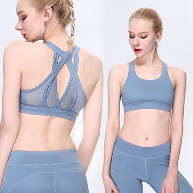 Γυναικεία Αθλητικό σουτιέν Αθλητικά Σουτιέν Ελαστίνη Γιόγκα Fitness Αναπνέει Anti Transpirație Μαύρο Βυσσινί Μπλε Ροζ Μονόχρωμο / Ελαστικό
