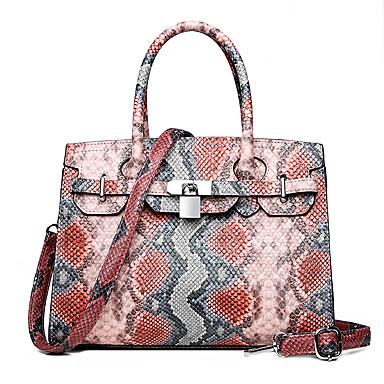 cheap Handbag & Totes-Women's Zipper PU Top Handle Bag Snakeskin White / Blue / Red / Fall & Winter