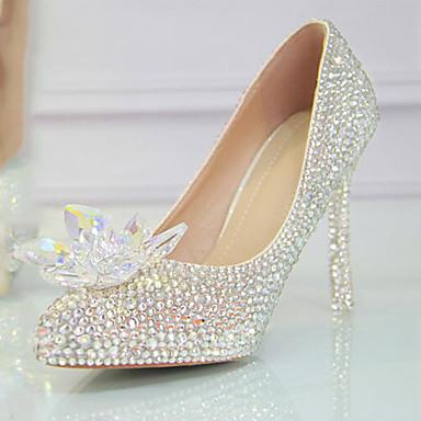 Γυναικεία Γαμήλια παπούτσια Τακούνι Στιλέτο Στρογγυλή Μύτη Τεχνητό διαμάντι PU Γλυκός Ανοιξη καλοκαίρι / Φθινόπωρο & Χειμώνας Ασημί / Γάμου / Πάρτι & Βραδινή Έξοδος