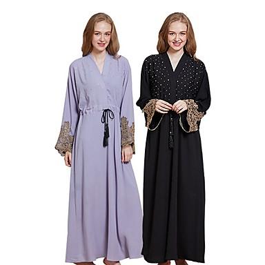 Desgaste Tradicional e Cultural Vestidos Mulheres Roupa Diária Linho Renda / Combinação Abaya