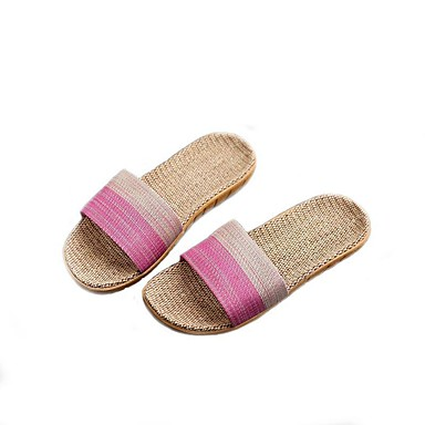 voordelige Damespantoffels & slippers-Dames Slippers & Flip-Flops Platte hak Linnen Zomer Blauw / Roze