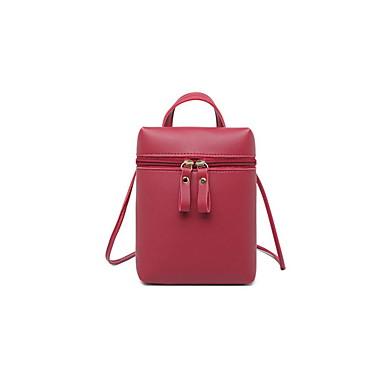 Γυναικεία Φερμουάρ PU Σταυρωτή τσάντα Μαύρο / Ανθισμένο Ροζ / Ρουμπίνι