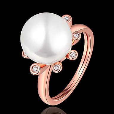 billige Motering-Dame Ring Perle 1pc Rose Gull Gullplatert rose Geometrisk Form Stilfull Fest Daglig Smykker Klassisk velsignet Smuk