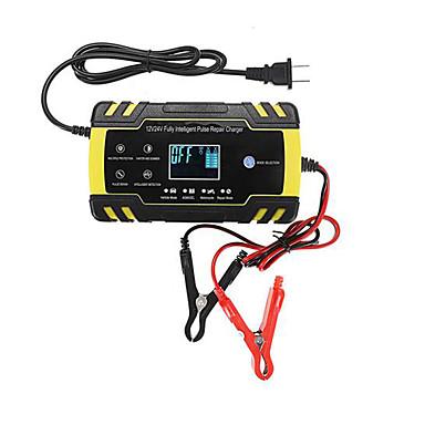 billige Motorsykkel & ATV tilbehør-enusic 12 / 24v 8a berøringsskjerm pulsreparasjon lcd batterilader for motorsykkel blysyre batteri agm gel våt - us plug