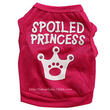 cheap Dog Clothes-Dog Vest Quotes & Sayings Tiaras & Crowns Sweet Style Simple Style Dog Clothes Red Pink Costume Polyester XS S M L