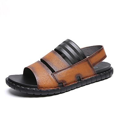 Ανδρικά Παπούτσια άνεσης Μικροΐνα Ανοιξη καλοκαίρι Καθημερινό Σανδάλια Αναπνέει Μαύρο / Καφέ / Μπορντώ