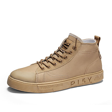 Homens Sapatos Confortáveis Lona / Couro Ecológico Outono Casual Tênis Não escorregar Preto / Cinzento / Khaki