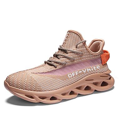 Herre Novelty Shoes Elastisk stoff / Tissage Volant Vår sommer Fritid Sportssko Løp / Gange Pustende Svart / Lys Grønn / Oransje / Skli