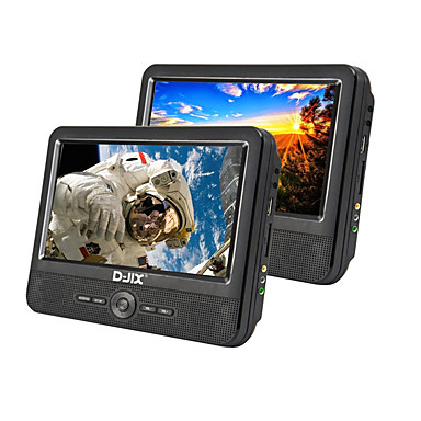 levne Auto Elektronika-d-jix pvc906-70 9 palcový přenosný duální monitor dvd sd / usb podpora pro univerzální podporu microusb avi mp3 jpeg