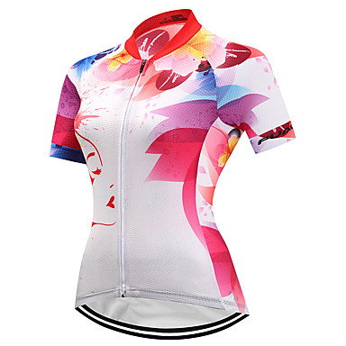 Fastcute Γυναικεία Κοντομάνικο Φανέλα ποδηλασίας Πολυεστέρας Ταφτάς Λευκό Άνθινο / Βοτανικό Ποδήλατο Αθλητική μπλούζα Μπολύζες Ποδηλασία Βουνού Ποδηλασία Δρόμου Αναπνέει Ύγρανση Γρήγορο Στέγνωμα
