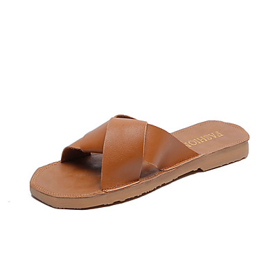 voordelige Damespantoffels & slippers-Dames Slippers & Flip-Flops Platte hak PU Informeel Zomer Wit / Zwart / Khaki