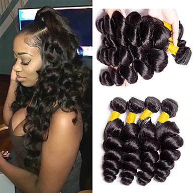 6 pakker Brasiliansk hår Løse bølger Ubehandlet hår Menneskehår Vevet Bundle Hair En Pack Solution 8-28inch Naturlig Farge Hårvever med menneskehår Lugtfri Klassisk Lett dressing Hairextensions med