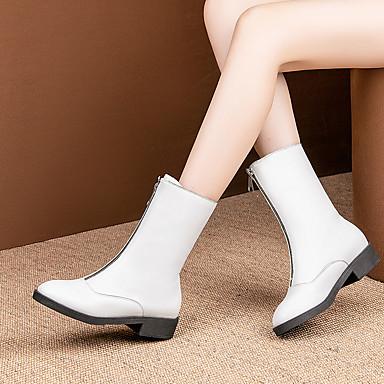 voordelige Dameslaarzen-Dames Laarzen Blok hiel Ronde Teen PU Kuitlaarzen minimalisme Herfst winter Rood / Wit / Zwart