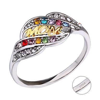 personlig tilpasset Hvit Kubisk Zirkonium Ring Klassisk Gave Love Festival Geometrisk Form 1pcs Sølv