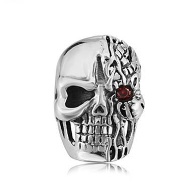 voordelige Herensieraden-Heren Ring 1pc Zilver Titanium Staal Cirkelvormig Vintage Standaard Modieus Carnaval Sieraden Schedel Ogen Cool