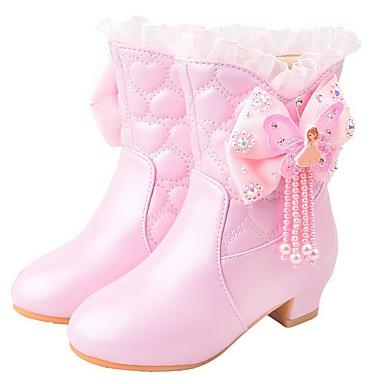 preiswerte Schuhe für Kinder-Mädchen Schuhe für das Blumenmädchen Kunststoff Stiefel Kleine Kinder (4-7 Jahre) Purpur / Rosa Herbst / Mittelhohe Stiefel