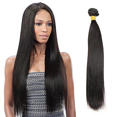 povoljno Ekstenzije od ljudske kose-1 paket Indijska kosa Ravan kroj Virgin kosa Ljudske kose plete 8-26 inch Crna Isprepliće ljudske kose Proširenja ljudske kose / 10A