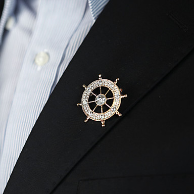 Homens Broches Escultura Precioso Ancora Simples Vintage Na moda Fashion Imitações de Diamante Broche Jóias Dourado Prata Azul Para Casamento Presente Rua Promessa