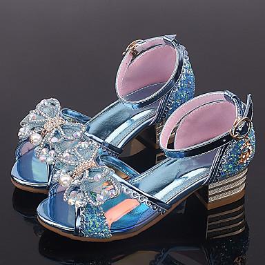 Para Meninas Sapatos para Daminhas de Honra Couro Ecológico Sandálias Little Kids (4-7 anos) Laço / Lantejoulas Roxo / Azul / Rosa claro Verão / Listrado / Borracha