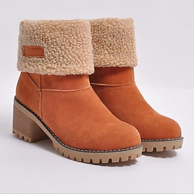voordelige Dameslaarzen-Dames Laarzen Blok hiel Ronde Teen Canvas Korte laarsjes / Enkellaarsjes Winter Zwart / Groen / Kameel