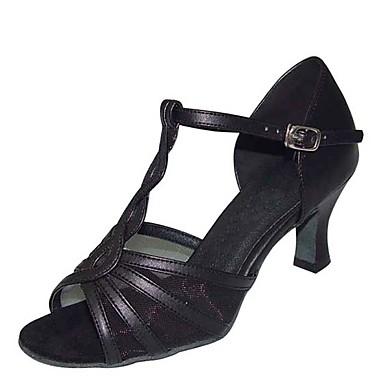 Mulheres Sapatos de Dança Cetim / Couro Ecológico Sapatos de Dança Latina Lantejoula Salto Salto Carretel Personalizável Preto / Prata / Bege / Espetáculo / Ensaio / Prática