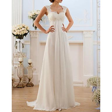 Linha A Decote Princesa Cauda Escova Chiffon / Renda Alças Finas Vestidos de casamento feitos à medida com Aplicação de renda 2020