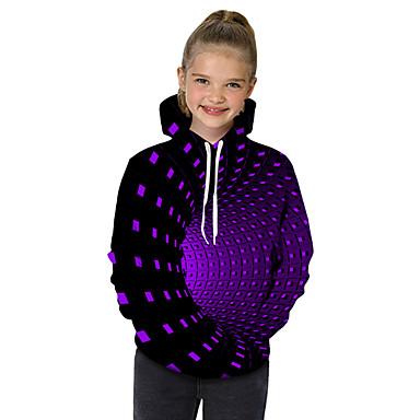 billiga Flickhuvtröjor och sweatshirts-Barn Småbarn Flickor Aktiv Grundläggande Magiska kuber Geometrisk Galax Tryck Tryck Långärmad Huvtröja och sweatshirt Svart