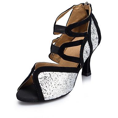 Mulheres Sapatos de Dança Sintéticos Sapatos de Dança Latina Recortes Salto Salto Carretel Personalizável Preto e Prateado