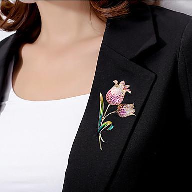 levne Dámské šperky-Dámské Brože Ozdobný Kytky Luxus Moderní Elegantní Barevná Pozlacené Umělé diamanty Brož Šperky Zlatá Pro Svatební Zásnuby Dar Práce Slib