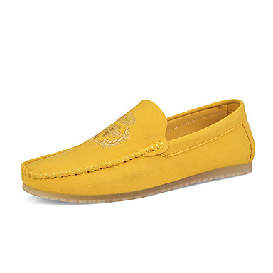 cheap Men's Slip-ons & Loafers-Men's Moccasin Spring / Fall Casual / Vintage Daily Party & Evening Loafers & Slip-Ons Microfiber Breathable Wear Proof Black / Yellow / Orange