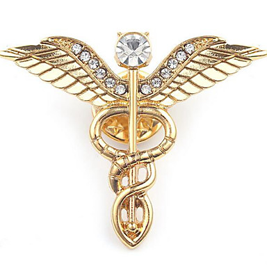 Homens Broches Escultura Asas de anjo Estiloso Europeu Broche Jóias Dourado Prata Para Diário