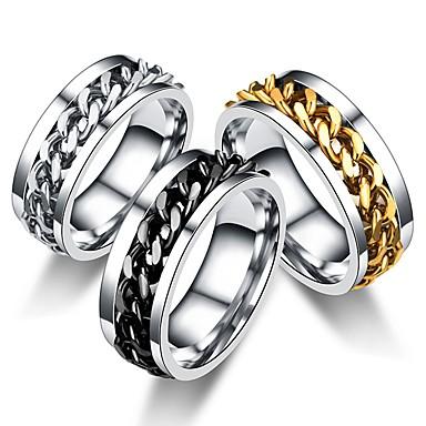 levne Pánské šperky-Pánské Dámské Band Ring Prsten Tail Ring 1ks Černá Stříbrná Modrá Nerez Kulatý Vintage Základní Módní Dar Šperky