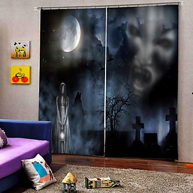 Promoção horror fantasma na noite escura luxo hallowmas tema cortina da janela 100% poliéster cortina blackout tecido para decoração hallowmas