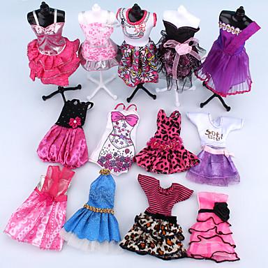 preiswerte Zubehör für Puppen-Puppenkleid Für Barbie Rosa Polyester Kleid Für Mädchen Puppe Spielzeug