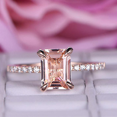cheap Rings-Women's Ring 1pc Rose Gold Imitation Diamond Alloy Rectangle Trendy Korean Fashion Daily Jewelry Classic Lucky