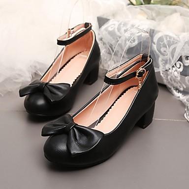 preiswerte Kleine Absätze für Teenager-Mädchen Schuhe für das Blumenmädchen PU High Heels Kleine Kinder (4-7 Jahre) Weiß / Schwarz / Rot Sommer