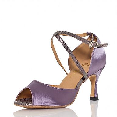 Mulheres Sapatos de Dança Cetim Sapatos de Dança Latina Recortes Salto Salto Carretel Personalizável Roxo / Espetáculo