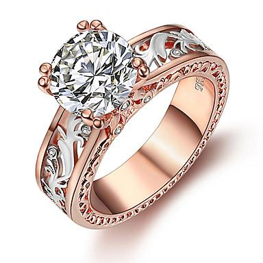billige Motering-Dame Ring 1pc Hvit Lysebrun Fuskediamant Legering Rund Koreansk Mote søt stil Daglig Smykker Vintage Stil Heldig
