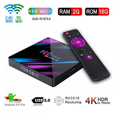 cheap TV Boxes-H96 Max Smart Android 9.0 TV Box RK3318 Quad Core 64 Bit UHD 4K VP9 H.265 2GB / 16GB 2.4G / 5G WiFi BT4.0 HD Media Player TV Box