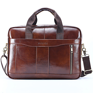 cheap Men's Bags-Men's Bags Nappa Leather / Cowhide Laptop Bag / Briefcase / Top Handle Bag Belt Zipper Solid Color for Daily Black / Brown / Fall & Winter