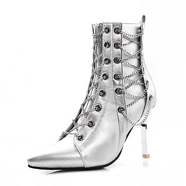 voordelige Dameslaarzen-Dames Laarzen Naaldhak Gepuntte Teen PU Kuitlaarzen Vintage / Brits Herfst winter Zwart / Zilver / Feesten & Uitgaan