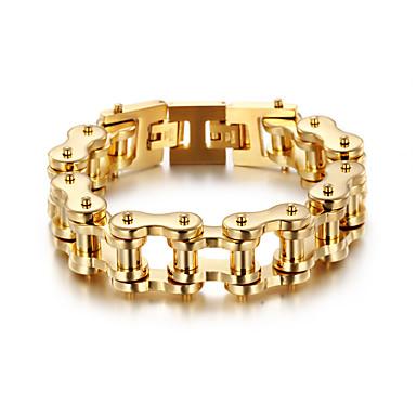 levne Pánské šperky-Pánské Dámské Zlatá Náramek Link / řetězec Kolo Punk Nerez Náramek šperky Zlatá Pro Párty Dar Denní Street Klub