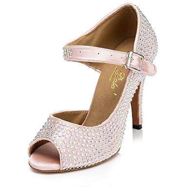 Mulheres Sapatos de Dança Cetim Sapatos de Dança Latina Pedrarias / Cristal / Strass Salto Salto Alto Magro Personalizável Rosa claro / Espetáculo