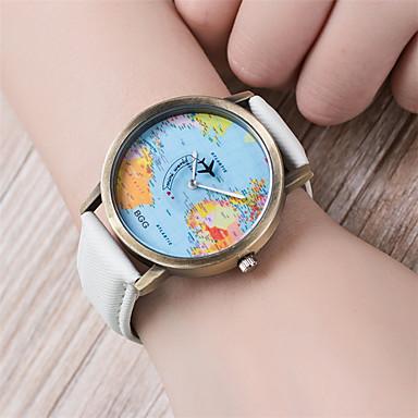 levne Dámské-Dámské Náramkové hodinky Mapa světa Křemenný Z umělé kůže Černá / Bílá / Modrá 30 m Mapa světa vzor Analogové dámy Vintage Módní - Kávová Červená Modrá Jeden rok Životnost baterie / Tianqiu 377