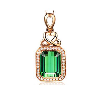 levne Dámské šperky-Dámské Zelená Turmalín Náhrdelníky s přívěšky simulované Drahocenný Módní Pozlacené Světle zelená 45+5 cm Náhrdelníky Šperky 1ks Pro Denní Dovolená