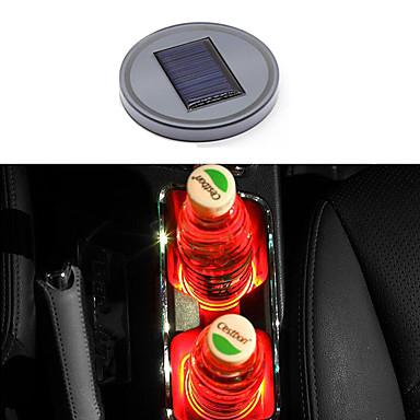 voordelige Auto-cabinematten-auto led water cup mat zonne-energie cup pad anti-slip pad interieur decoratie