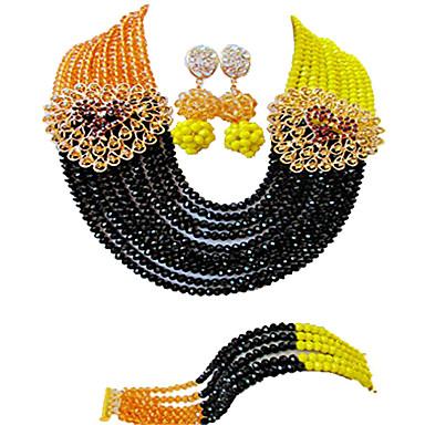 voordelige Dames Sieraden-Dames Ketting Oorbel Armband kralen Lucky Elegant Afrika oorbellen Sieraden Zwart / Marine Blauw Voor Bruiloft Feest Lahja Dagelijks Festival 1 set