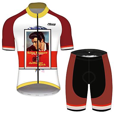21Grams Elvis Presley Homens Manga Curta Camisa com Shorts para Ciclismo - Vermelho e Branco Moto Conjuntos Respirável Secagem Rápida Tiras Refletoras Esportes 100% Poliéster Ciclismo de Montanha